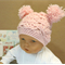 Crochet Baby Girl Hat with Pom Poms, Pale Pink Beanie, 0 Months to 4 Years