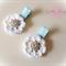 Blue & white polka dot, crochet flower hair clips. Two clips.