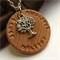 'Dione'  Personalised timber  Hand-stamped pendant with Tree Of Life Charm