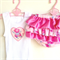 Girl Baby Toddler Ruffle Bloomer and Singlet set sz Newborn to 18 months