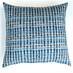 Dark Blue, Grey and Brown Geometric Print Cotton Cushion Cover