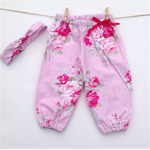 Gorgeous Pink Roses Floral Bohemian Harem Pants with matching headband Baby Girl