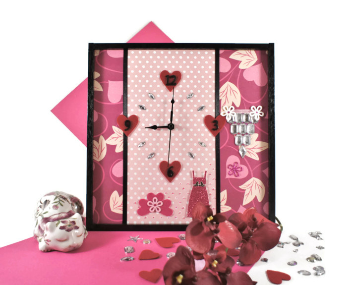 Wall Clock, Modern Wall Art In Pink for Girls Bedroom ...