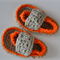 Orange & Beige Crochet Baby Shoes ~ 0 - 3 months