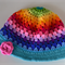Crochet Rainbow Hat with Pink Flower - Adult Size