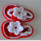 Red & White Crochet Baby Shoes ~ 0 - 3 months