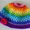 Crochet Rainbow Hat with Hot Pink Flower - Adult Size