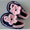 Navy & Pink Crochet Baby Shoes ~ 0 - 3 months