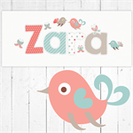 (RED, BLUE, MOCHA BIRDS & BUTTERFLIES ) Personalised Door Plaque 28x12cm