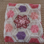 Baby blanket in pinks, purple and white: OOAK, cot, pram, travel, hexegon