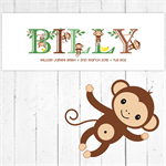 (CHEEKY MONKEY) Personalised Skinny Wooden Door Plaque / Sign (28x10cm)