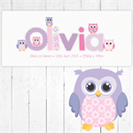 (PINK & PURPLE OWL) Personalised Door Sign ~ Custom Name Plaque 28x12cm