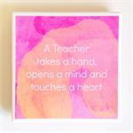 Teacher Quote Coaster - 1 Watercolour Ceramic Tile Drink Coaster