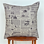Vintage Newsprint Cotton  Cushion Cover in Black and Grey
