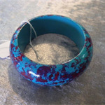 Hand Painted Bangle - Aqua & Maroon for Children.