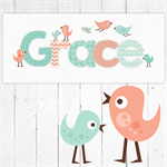 (PEACH & MINT BIRDIES) Personalised Door Sign ~ Custom Name Plaque 28x12cm birds
