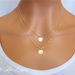 Personalised initial disc necklace silver gold or rose gold layered