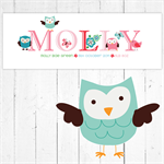 (OWLS BIRDS BUTTERFLIES ) Personalised Skinny Door Plaque / Sign (28x10cm)
