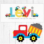 (BRIGHT TRUCKS) Personalised Door Plaque 28x12cm