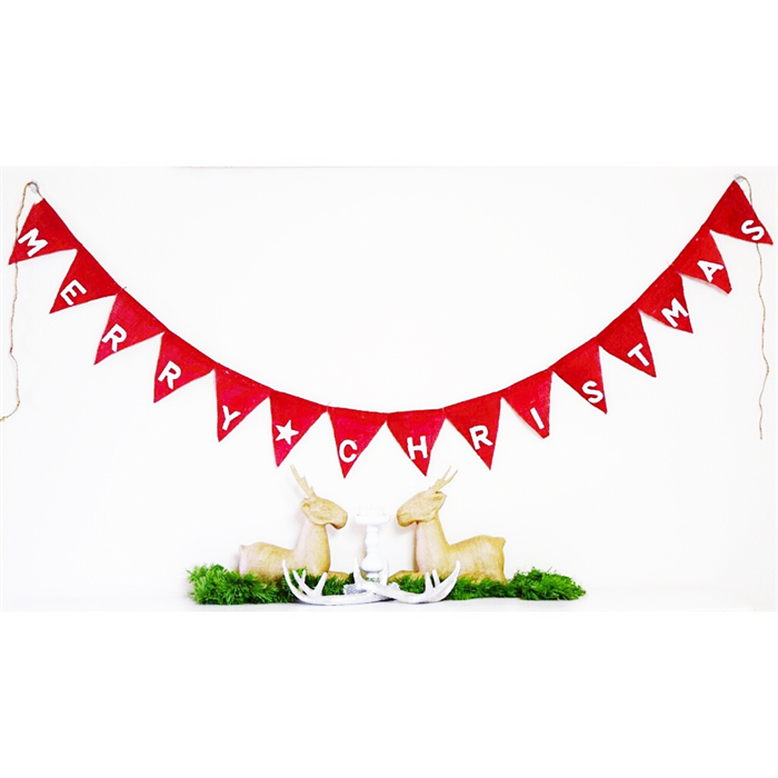 merry christmas red hessian burlap holiday party banner pennant flag bunting - Merry Christmas Burlap Banner