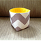 Chevron Mini Fabric Storage Organiser Bin Basket - Grey Chevron with Yellow