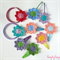 Lucky dip of 5 sweet floral snap clips or elastic hair ties mixed colour crochet