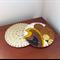 2 Coasters - Vintage Fabric and Felt