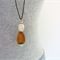 GEM Necklace - Minty Green Bead + Faceted Wood + Cloudy Glass on Black Leather