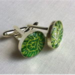 Cuff Links - Green - FREE POSTAGE