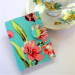 Tea Bag Wallet - Pink Flowers, Green leaves on Teal