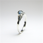 Cornflower Blue Sapphire (Genuine), 4.4mm x 0.40 Carat Round Cut, Sterling Ring