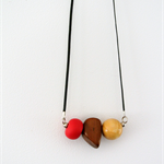 TRIO Necklace - Watermelon Pink Polymer Clay  +  Wood on Black Leather