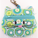 Kitty Coin Purse - Retro Circles
