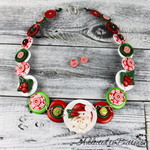 CHRISTMAS - Santa Claus - Joyful - Red White - Button Necklace and Earrings