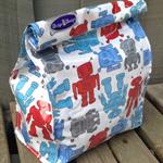 Eco friendly lunch bag, picnic, vinyl, school, robot, red, food, reusable, work
