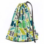 Large Drawstring Library Bag. Perfect for Kindy or School. Blue, Grey Alphabet.