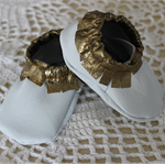 0 - 3 month leather shoes white and gold christening