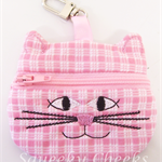 Kitty Coin Purse - Pink Check