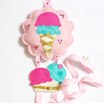 Strawberry Mint Gelato - felt hairclip headband hairtie organiser / holder