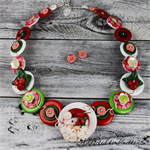 CHRISTMAS - Santa Claus - snowflake - Red White - Button Necklace and Earrings