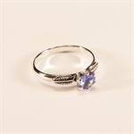 Genuine Tanzanite, 5mm x 0.40 Carat, Round Cut, Handmade Sterling Silver Ring