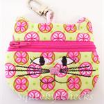 Kitty Coin Purse - Green & Pink