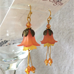 Sunset orange and yellow Flower Earrings