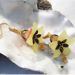 Sunset yellow and Orange Flower Earrings