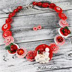 CHRISTMAS - Santa Claus - candy cane - Red White - Button Necklace and Earrings