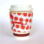 Coffee Cup Cuff/ Cosy - Go by Orange Bikes with flower baskets & secret skulls.