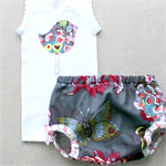 birdies & butterflies   baby girl bloomer singlet set   nappy cover outfit