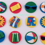 12 x Edible Pool Party Cupcake/Cookie Decorations