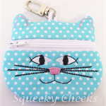 Kitty Coin Purse - Blue Spots
