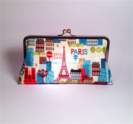Paris in brown large clutch purse